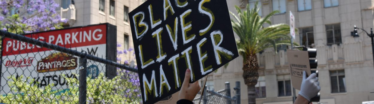 Hollywood, CA/USA - June 3, 2020: Black Lives Matter Protesters hold signs at Hollywood and Vine streets